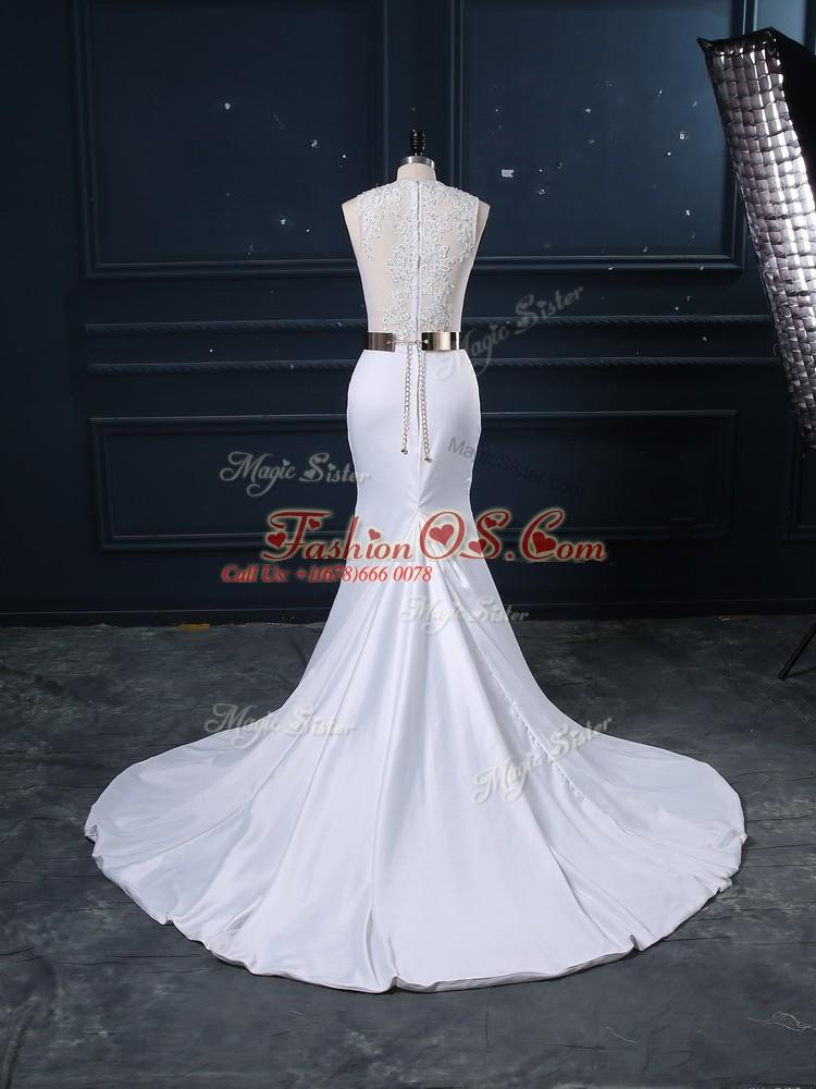 Fashionable White Zipper Wedding Dress Appliques and Sashes ribbons Sleeveless Brush Train