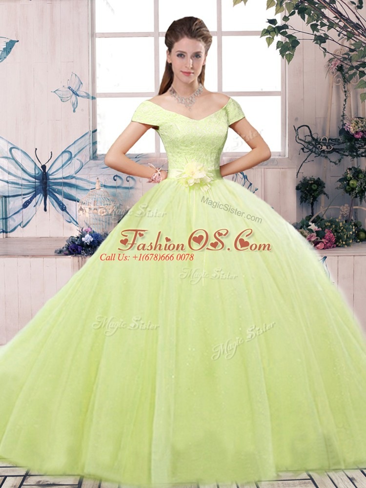 Nice Off The Shoulder Short Sleeves Tulle Sweet 16 Quinceanera Dress Lace and Hand Made Flower Lace Up