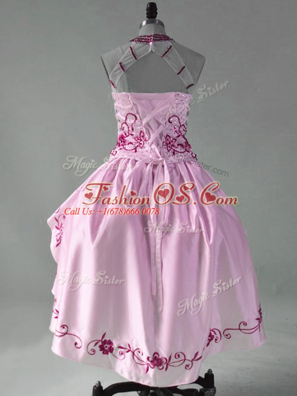 Modern Satin and Organza Sleeveless High Low Homecoming Dress and Embroidery and Ruffles
