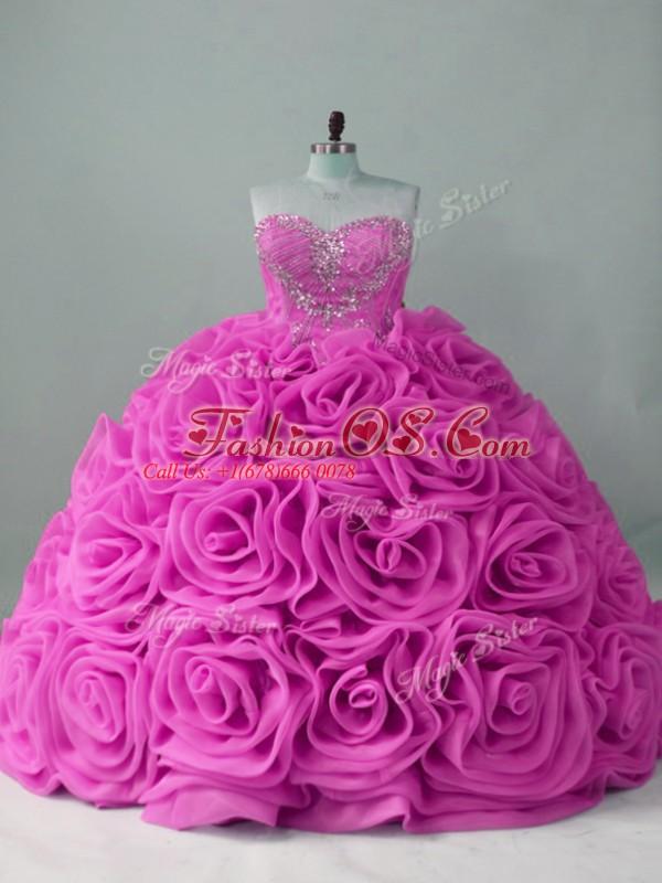 Noble Lilac Sweetheart Neckline Beading Sweet 16 Dress Sleeveless Lace Up