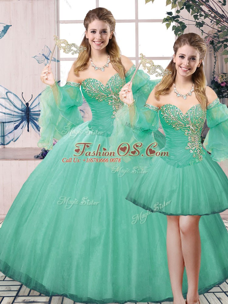 Stunning Turquoise Lace Up Sweetheart Beading 15th Birthday Dress Tulle Sleeveless