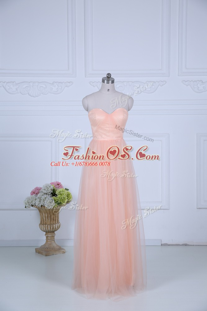 Fantastic Peach Sleeveless Ruching Floor Length Bridesmaids Dress