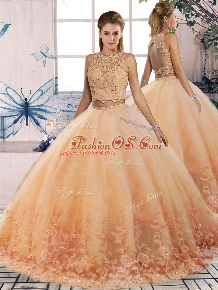 Customized Peach Two Pieces Tulle Scalloped Sleeveless Lace Backless Quinceanera Gowns Sweep Train