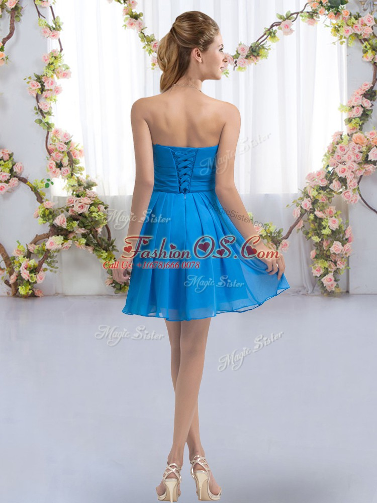 Aqua Blue Empire Chiffon Sweetheart Sleeveless Ruching Mini Length Lace Up Court Dresses for Sweet 16