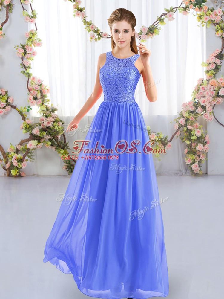 Smart Blue Empire Lace Quinceanera Dama Dress Zipper Chiffon Sleeveless Floor Length