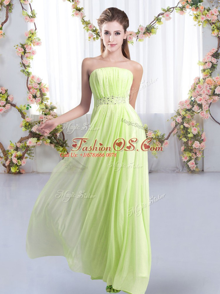 Sleeveless Beading Lace Up Wedding Party Dress with Yellow Green Sweep Train