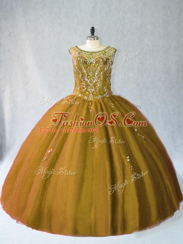 Decent Brown Sleeveless Beading Floor Length 15th Birthday Dress