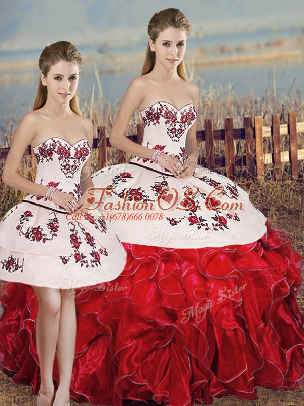 Sleeveless Floor Length Embroidery and Ruffles and Bowknot Lace Up Quinceanera Dress with White And Red
