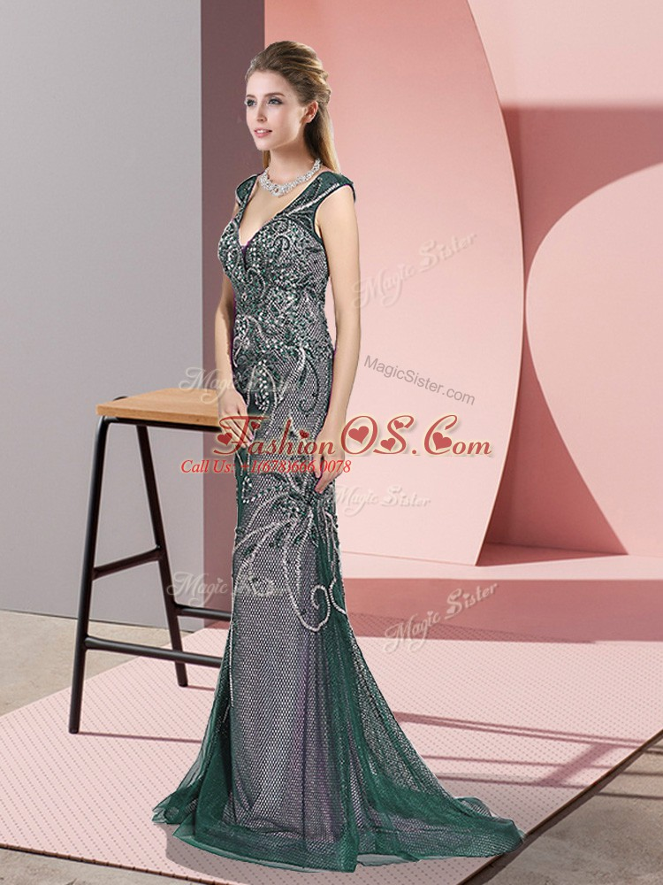 Lovely Peacock Green Mermaid V-neck Sleeveless Tulle Sweep Train Zipper Beading Evening Dress