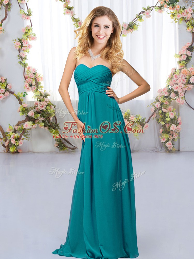 Teal Sleeveless Chiffon Criss Cross Quinceanera Court Dresses for Wedding Party