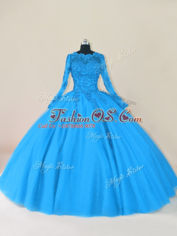 Scalloped Long Sleeves Tulle Sweet 16 Dresses Lace and Appliques Zipper