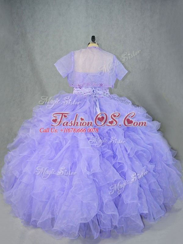 Organza Sweetheart Sleeveless Lace Up Beading and Ruffles Quinceanera Dresses in Lavender