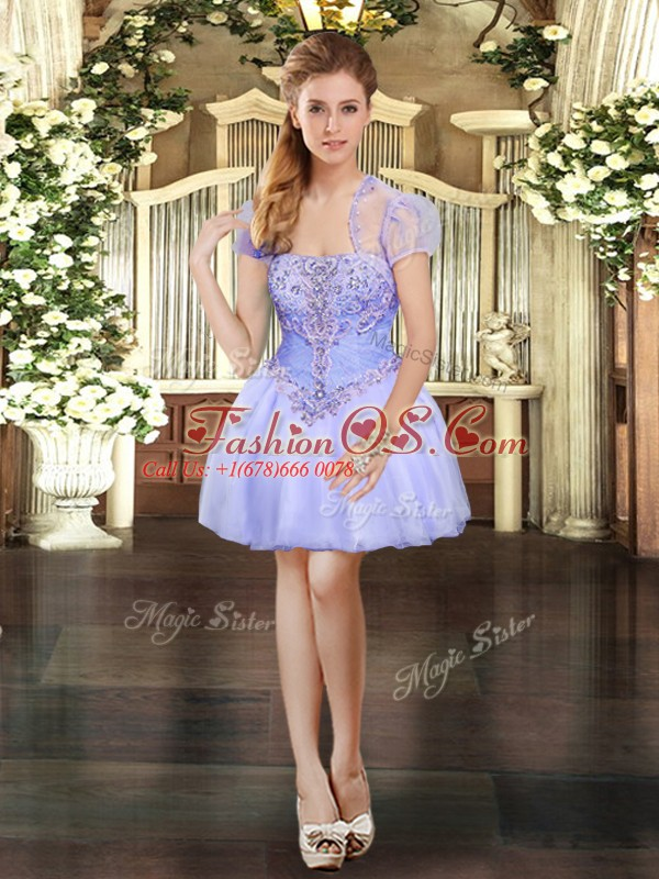 Pretty Sleeveless Organza Mini Length Lace Up Homecoming Dress in Lavender with Beading and Lace