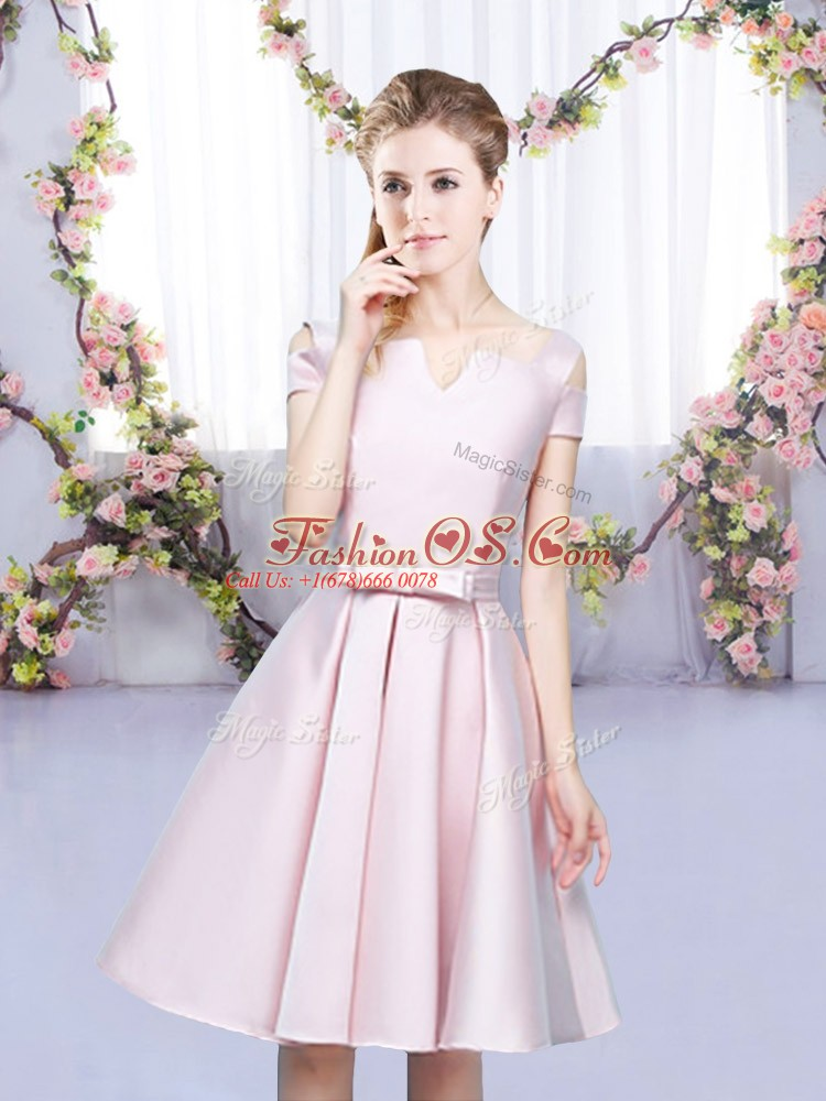Flare Baby Pink Sleeveless Bowknot Mini Length Quinceanera Court of Honor Dress