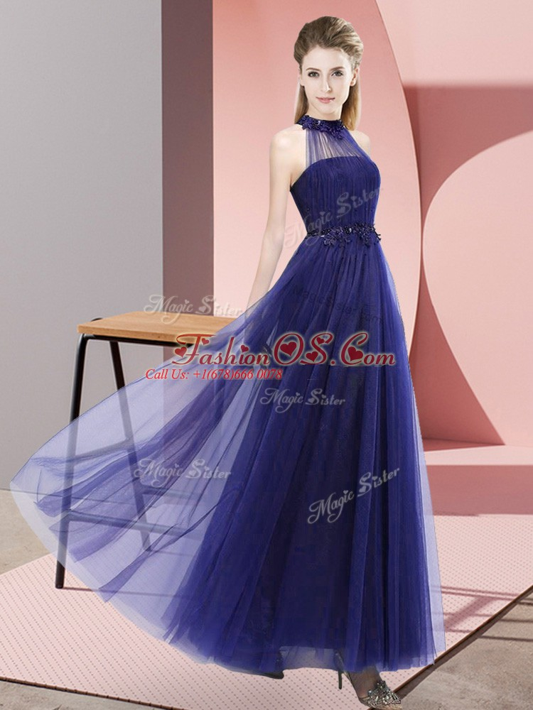 Latest Floor Length Lace Up Bridesmaids Dress Purple for Wedding Party with Beading and Appliques