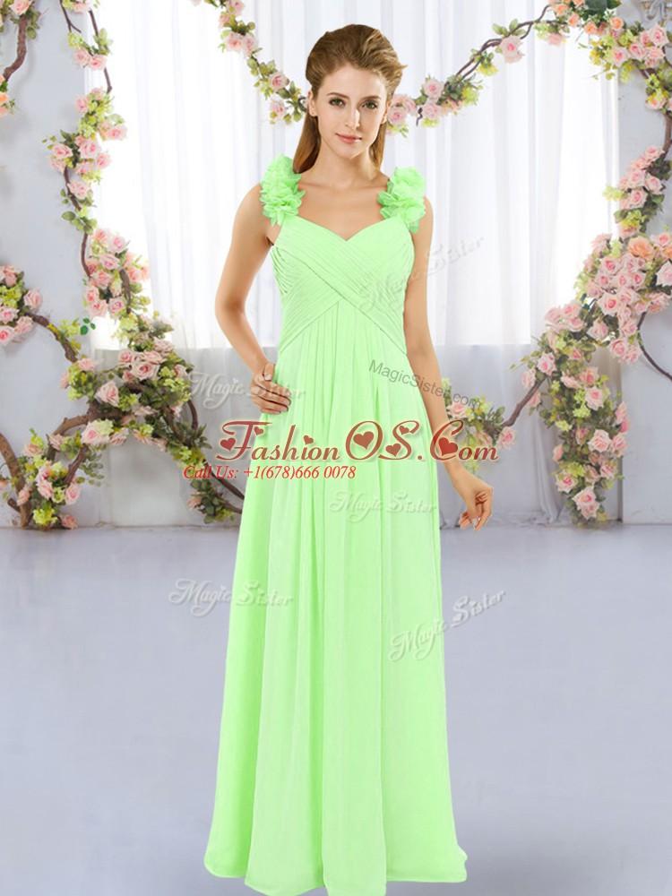 Cute Lace Up Wedding Guest Dresses Hand Made Flower Sleeveless Floor Length