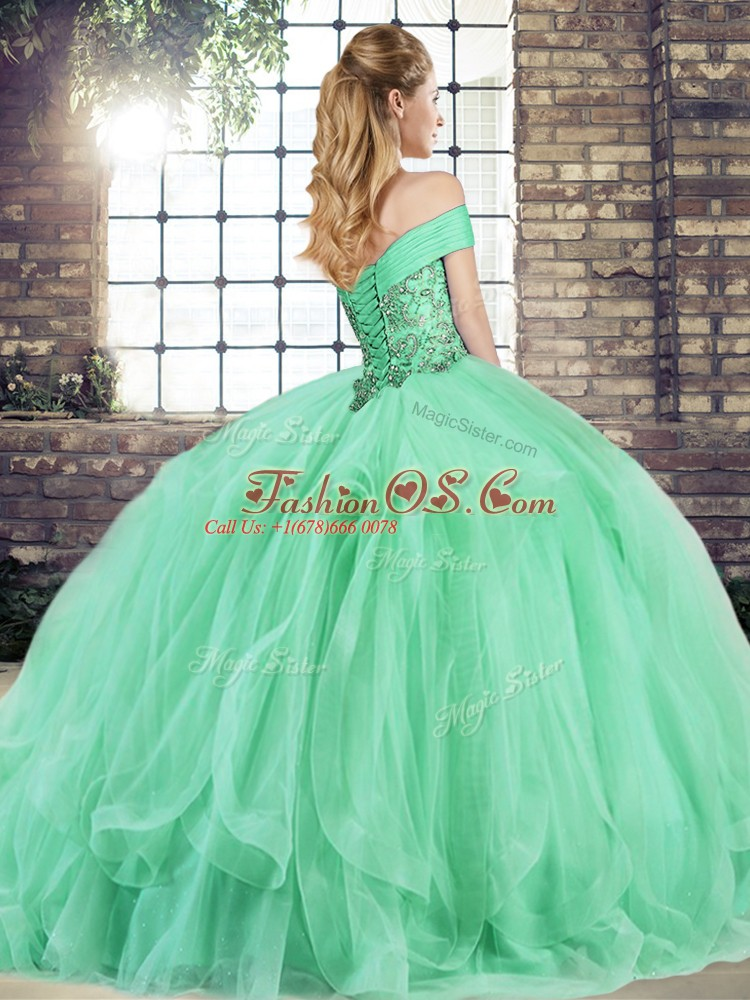 Affordable Beading and Ruffles Ball Gown Prom Dress Peach Lace Up Sleeveless Floor Length