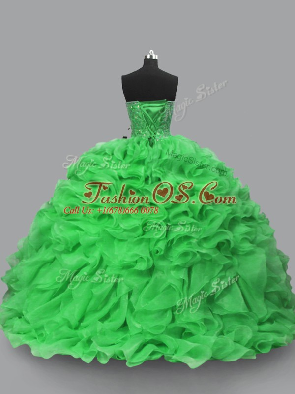 New Style Sweetheart Sleeveless Quinceanera Dresses Floor Length Beading and Ruffles Green Organza