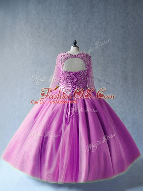 Glamorous Lilac Lace Up Sweet 16 Dresses Beading Long Sleeves Floor Length