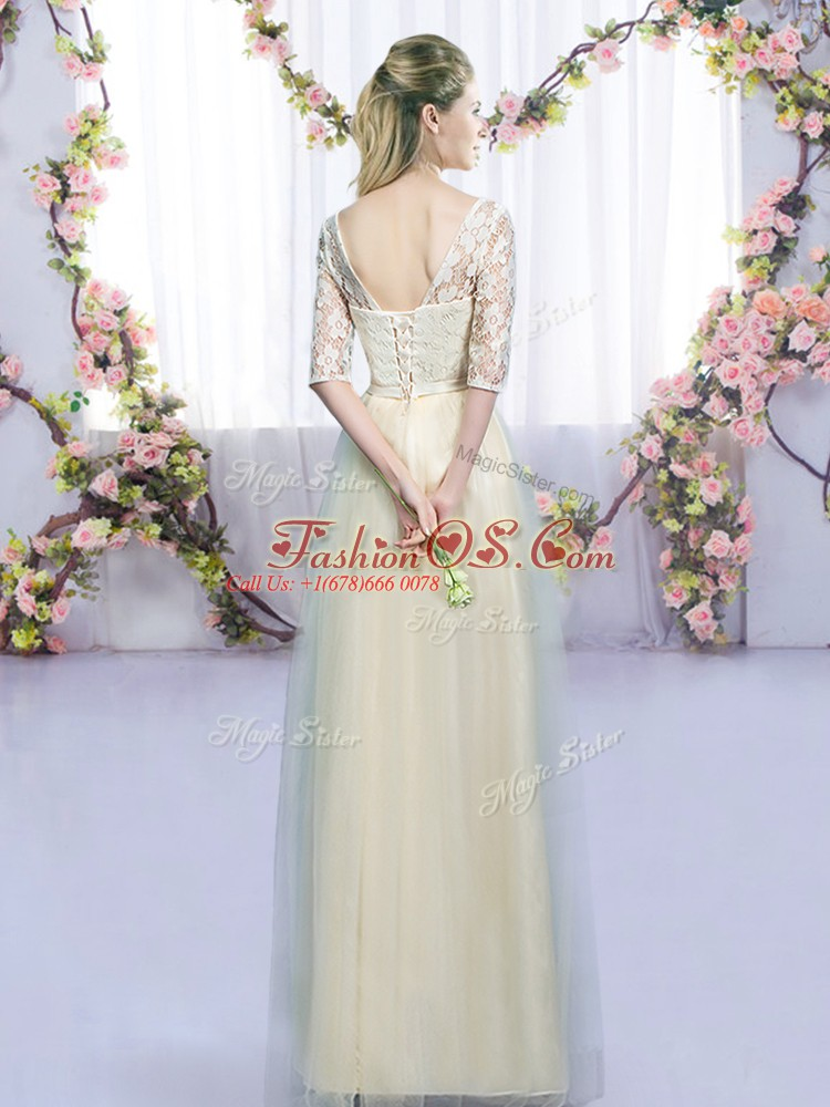Lovely V-neck Half Sleeves Tulle Court Dresses for Sweet 16 Lace and Bowknot Lace Up