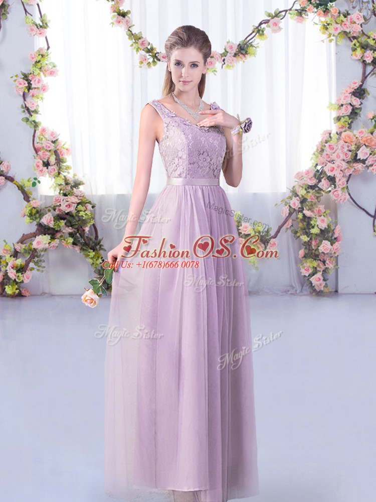 Clearance Floor Length Lavender Bridesmaids Dress Tulle Sleeveless Lace and Belt