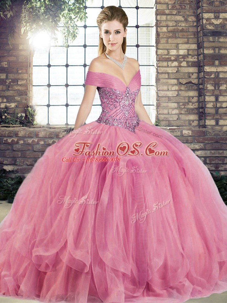 Amazing Beading and Ruffles Sweet 16 Dresses Watermelon Red Lace Up Sleeveless Floor Length
