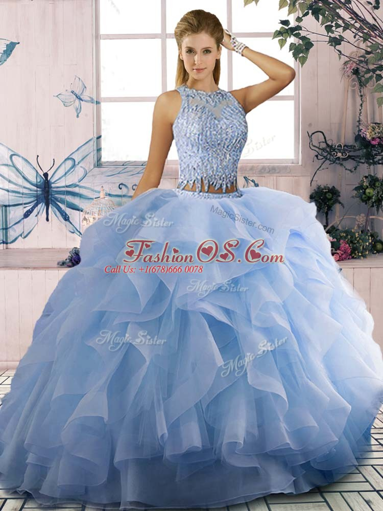 Colorful Blue Scoop Zipper Beading and Ruffles Ball Gown Prom Dress Sleeveless