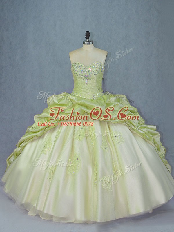 Yellow Green Sleeveless Brush Train Beading and Appliques Ball Gown Prom Dress