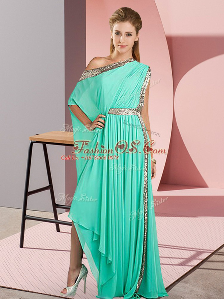 Sleeveless Asymmetrical Sequins Side Zipper Prom Gown with Turquoise