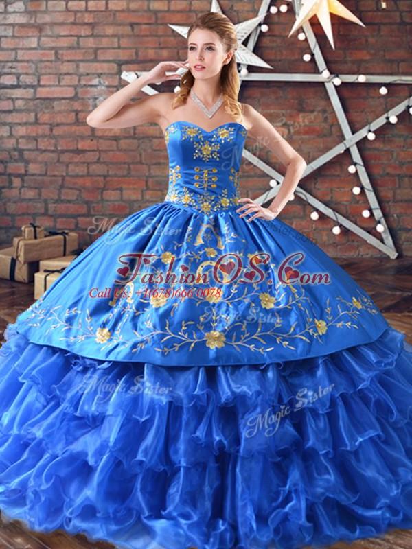 Blue Satin and Organza Sleeveless Floor Length 15th Birthday Dress Embroidery