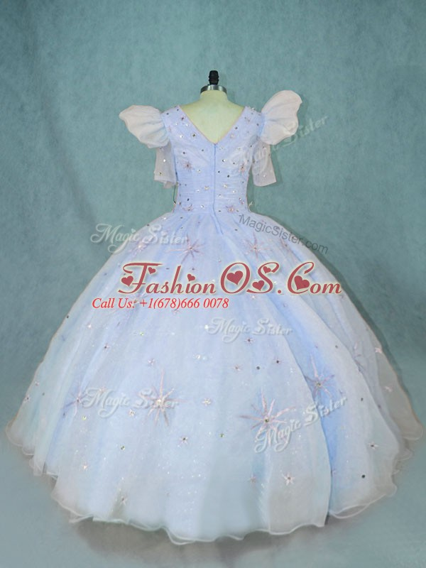 Luxurious Floor Length Zipper Quince Ball Gowns Light Blue for Sweet 16 and Quinceanera with Beading