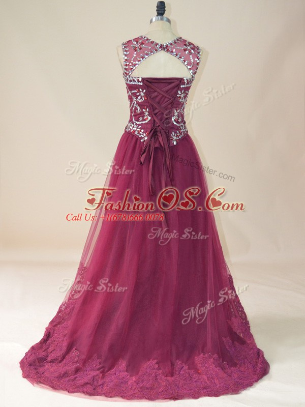 Perfect Burgundy Prom Dress Prom and Party with Beading and Lace Scoop Sleeveless Lace Up