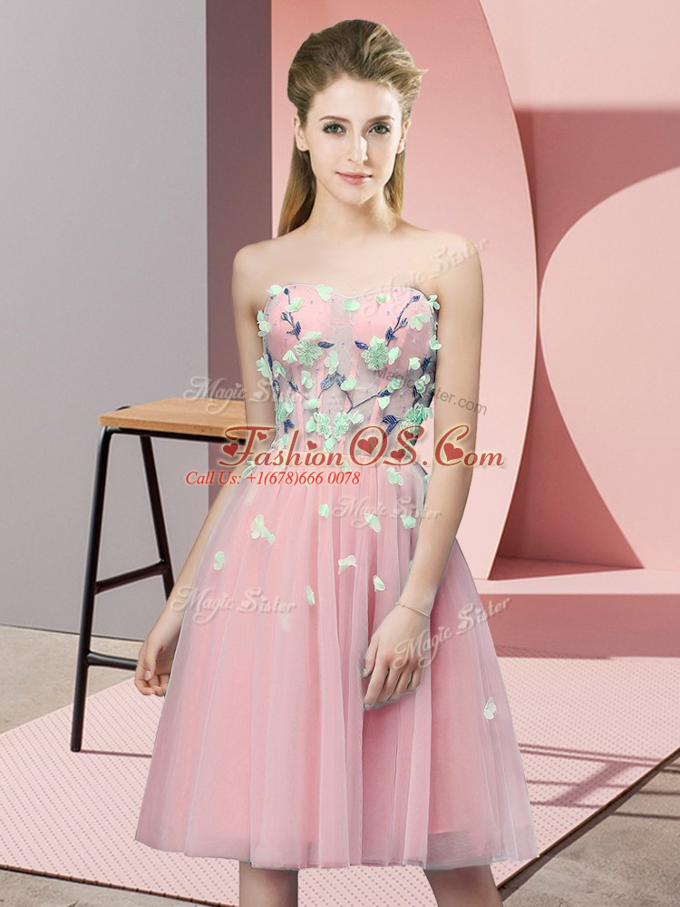 Shining Pink Empire Sweetheart Sleeveless Tulle Knee Length Lace Up Appliques Dama Dress for Quinceanera