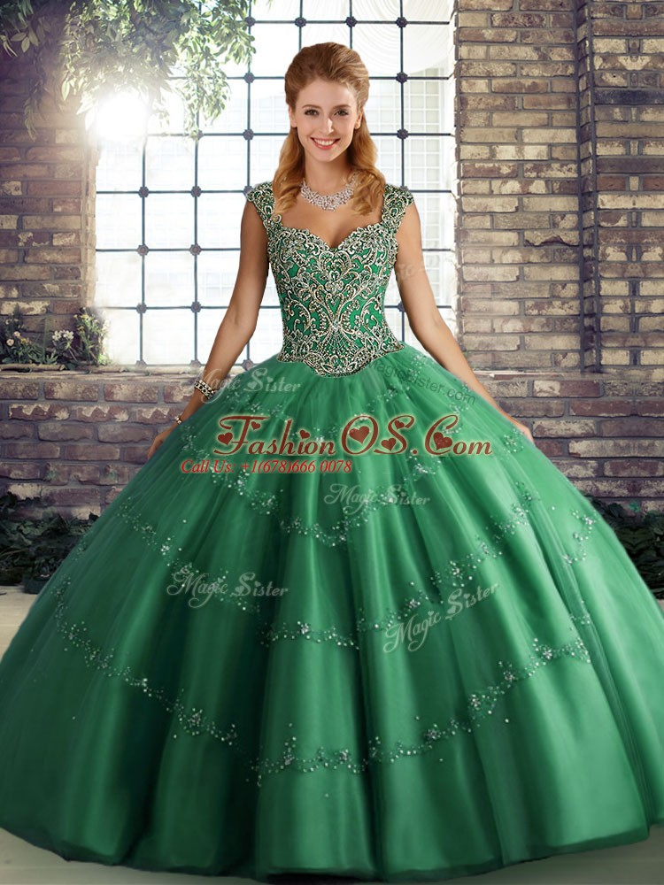Charming Green Lace Up Straps Beading and Appliques Sweet 16 Dresses Tulle Sleeveless