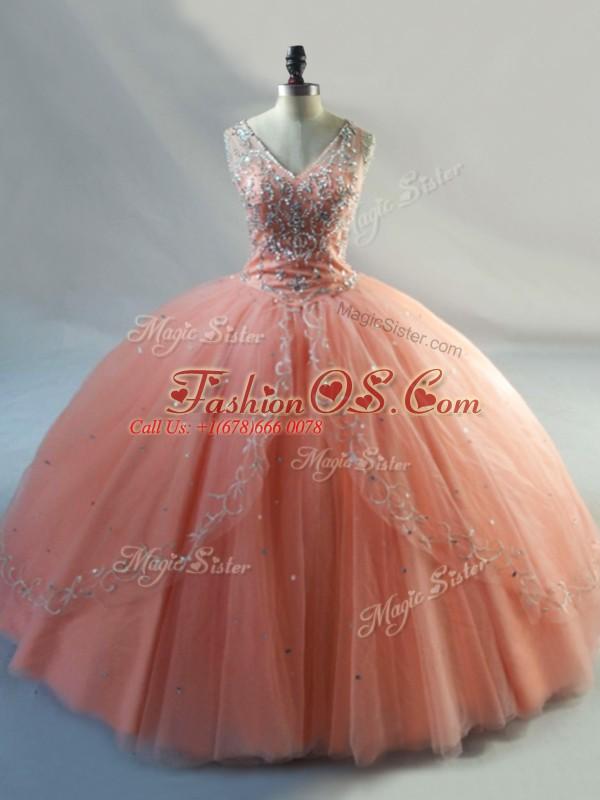 Ideal Peach Sleeveless Beading Floor Length Quinceanera Gown
