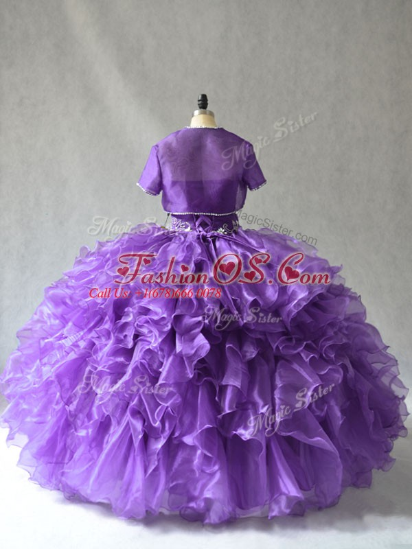 Graceful Floor Length Purple 15th Birthday Dress Taffeta Sleeveless Beading and Ruffles
