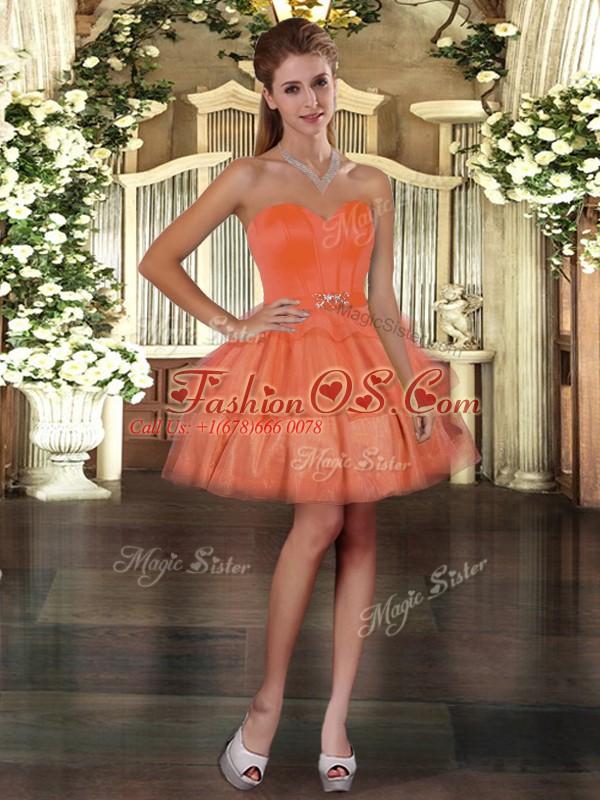 Fine Orange Red Sweetheart Neckline Ruffled Layers Evening Dress Sleeveless Lace Up