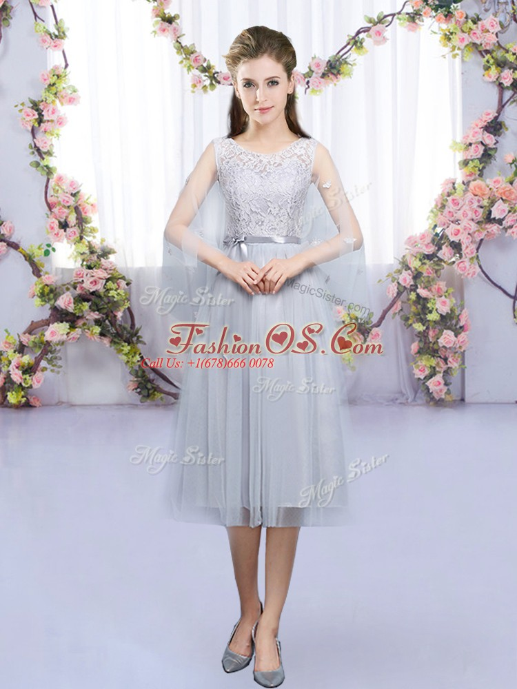 Best Lace and Belt Dama Dress for Quinceanera Grey Lace Up Sleeveless Tea Length
