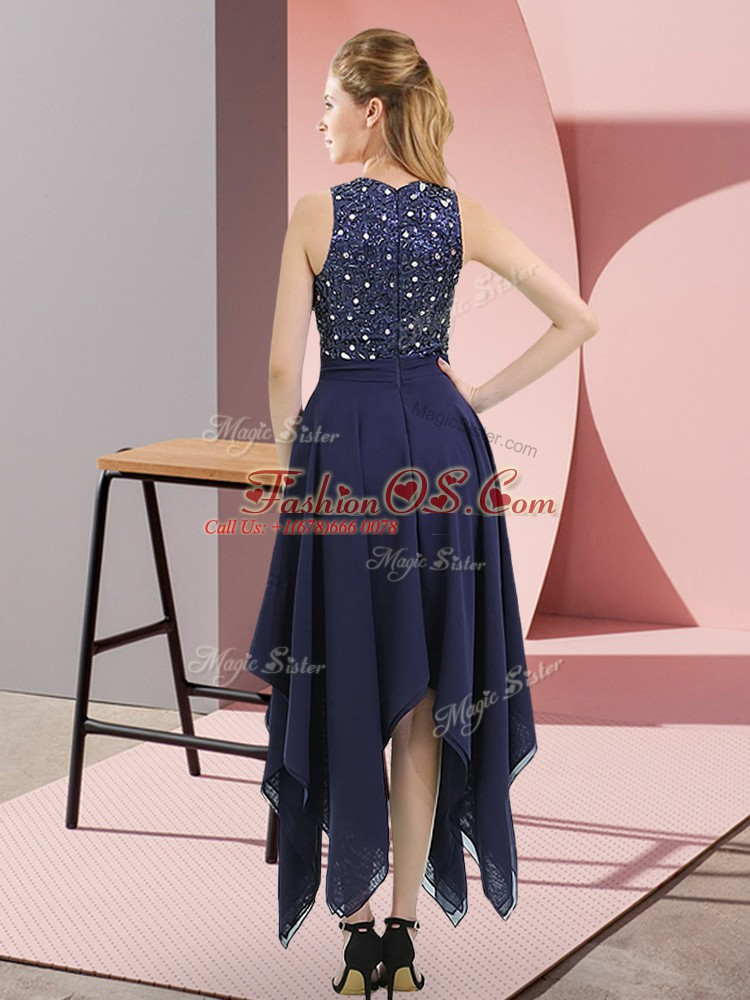 Delicate Navy Blue Sleeveless Beading and Sequins Asymmetrical Club Wear