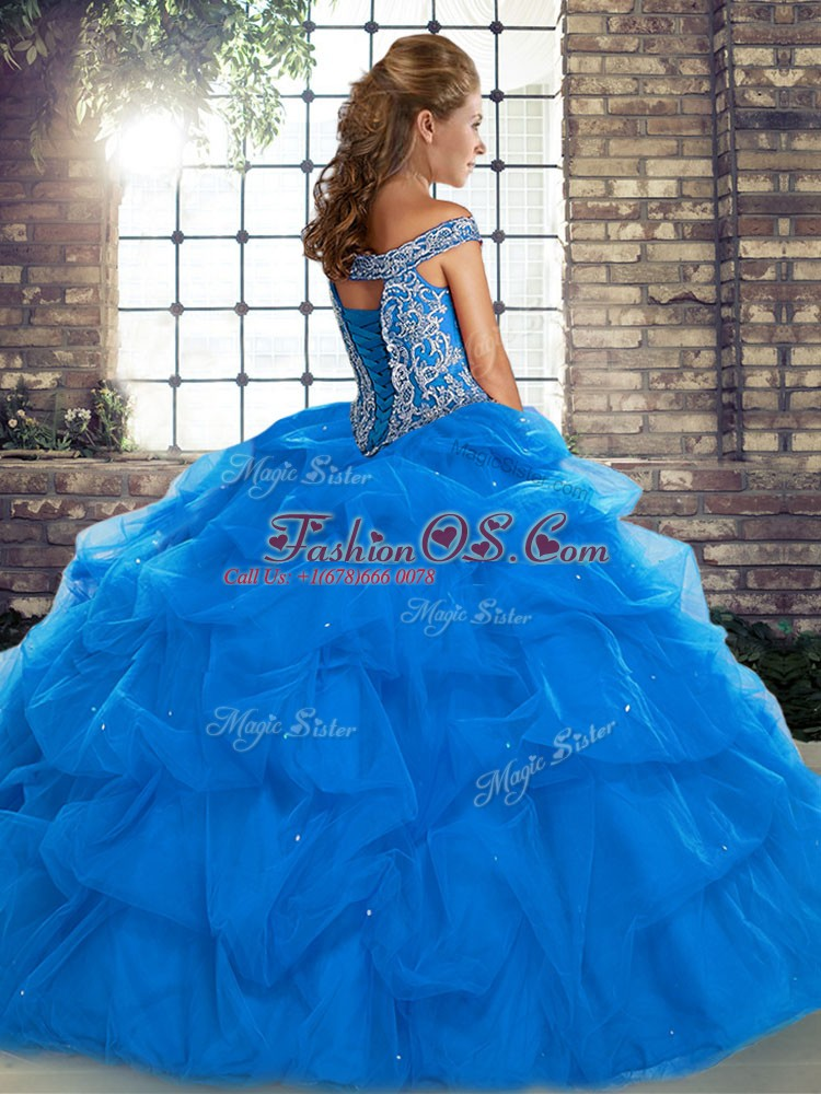 Off The Shoulder Sleeveless Vestidos de Quinceanera Brush Train Beading and Pick Ups Green Tulle