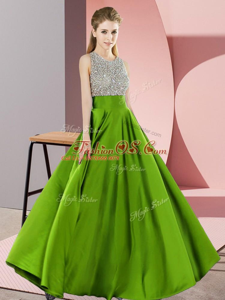 Backless Scoop Beading Evening Dress Elastic Woven Satin Sleeveless