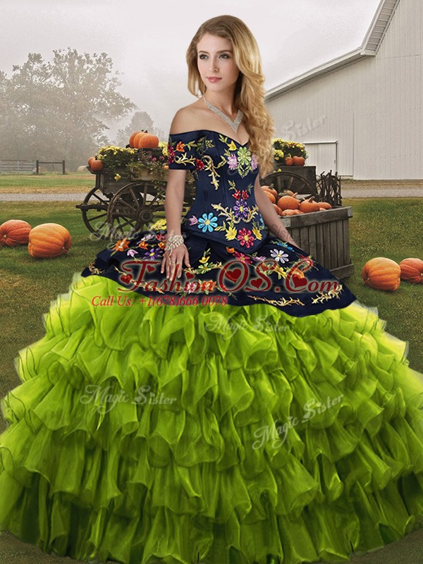 Inexpensive Floor Length Olive Green Quinceanera Gowns Organza Sleeveless Embroidery and Ruffled Layers