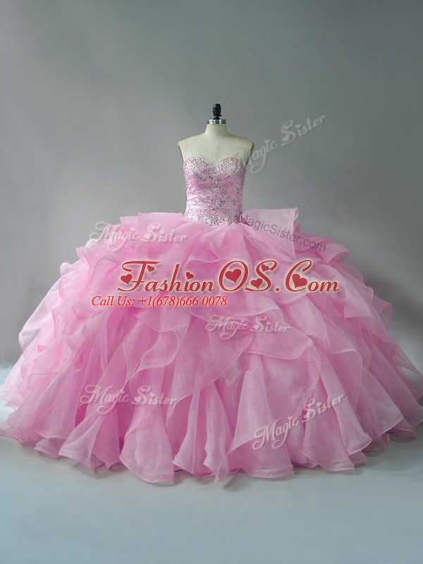 Flirting Baby Pink Sweetheart Lace Up Beading and Ruffles Sweet 16 Dress Sleeveless