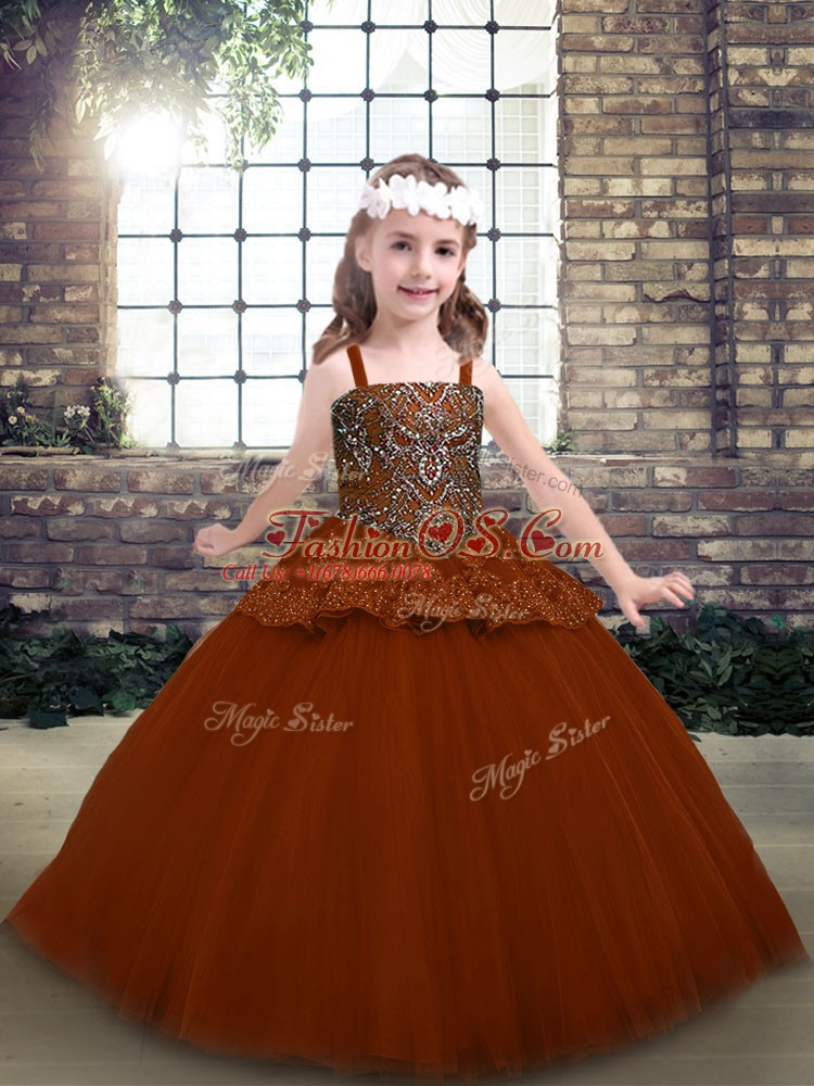 Gorgeous Straps Sleeveless Pageant Gowns For Girls Floor Length Beading and Lace Rust Red Tulle