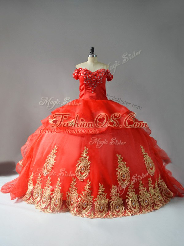 Organza Off The Shoulder Sleeveless Court Train Lace Up Appliques and Hand Made Flower Vestidos de Quinceanera in Red