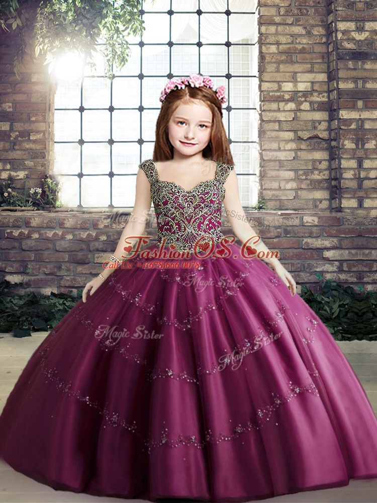 Fuchsia Sleeveless Floor Length Beading Lace Up Girls Pageant Dresses