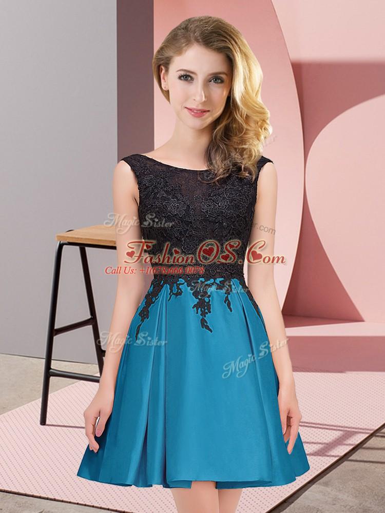 Nice Teal Satin Zipper Scoop Sleeveless Mini Length Quinceanera Dama Dress Lace