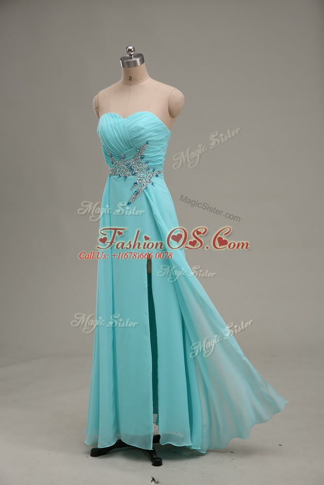Gorgeous Sleeveless Appliques and Ruching Zipper Prom Dresses