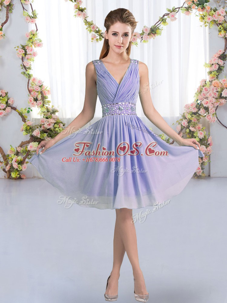 Fashionable V-neck Sleeveless Zipper Quinceanera Court Dresses Lavender Chiffon
