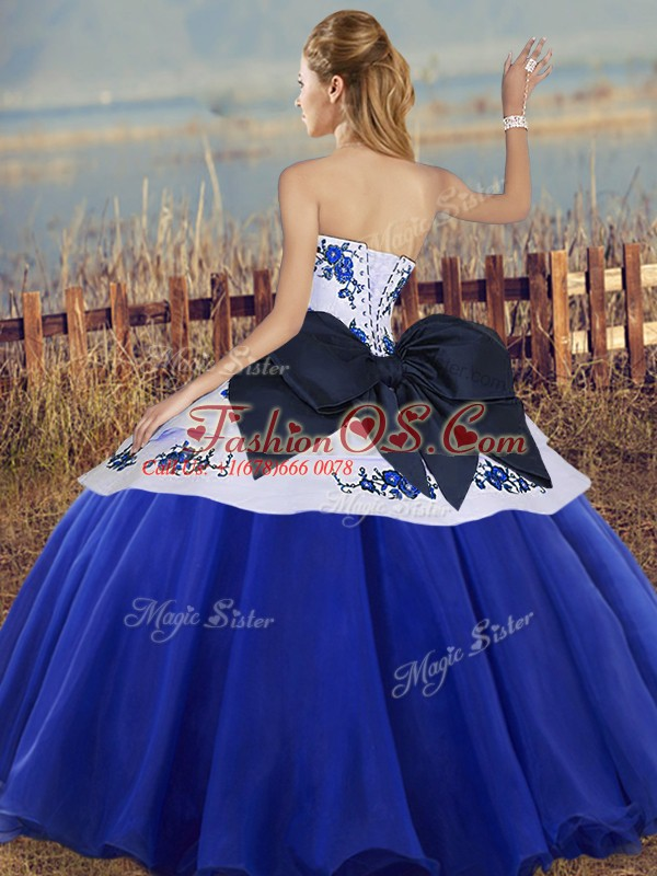 Cute Tulle Sweetheart Sleeveless Lace Up Embroidery and Bowknot 15 Quinceanera Dress in Olive Green